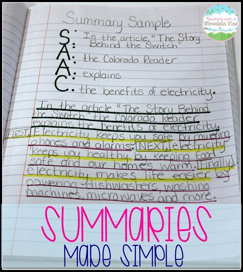 picture books to teach summarizing teaching with a mountain view writing summaries