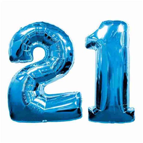 blue number 21 balloon