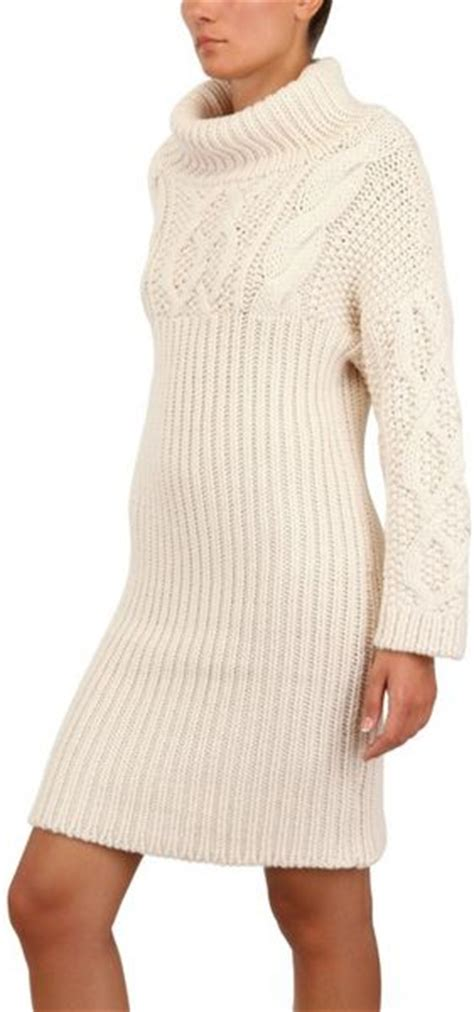 white cable knit sweater dress jean braganza cable wool knit sweater dress in