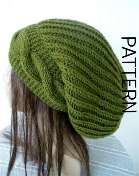 cable knit slouchy hat pattern knitting pattern hat pdf instant knit hat pattern