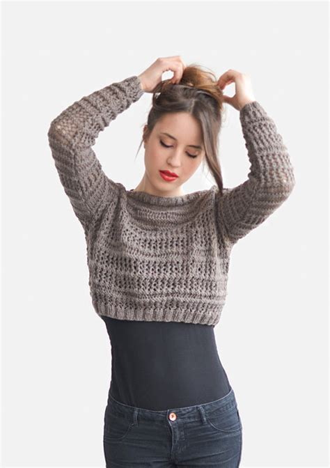 knit top sweater crop top sweater in light brown knit top boat