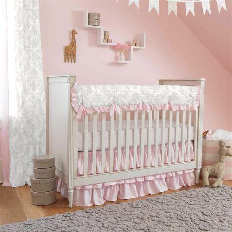 crib bedding sets pink and gray gray and pink damask crib bedding carousel designs