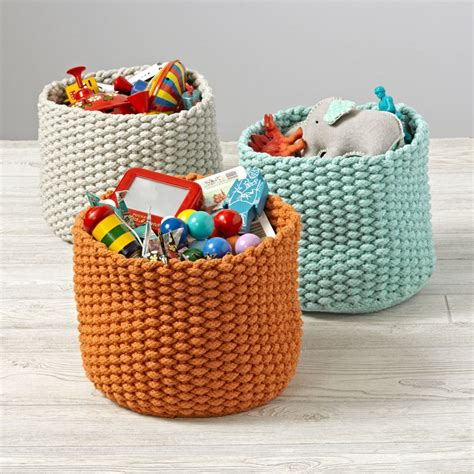 knit rope basket kneatly knit small rope bins the land of nod