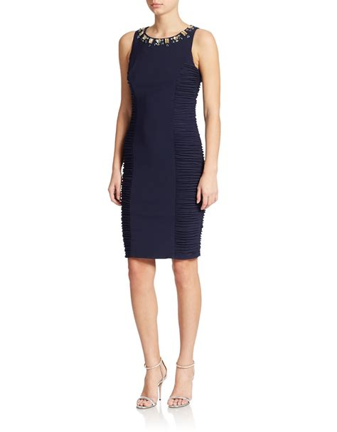 beaded neck dress eliza j beaded neck sheath dress in blue lyst