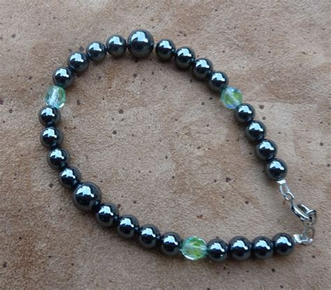 glass bead bracelets hematite and glass bead bracelet by lupagreenwolf on