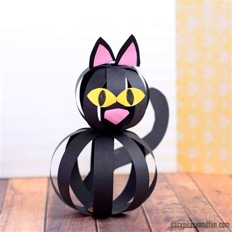cat paper craft cat craft with paper strips easy peasy and