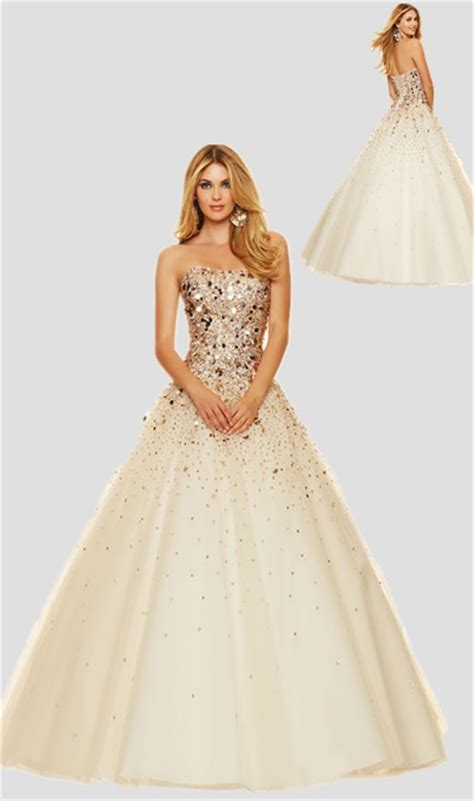prom dress with gold beading sparkly gown strapless chagne tulle gold beaded