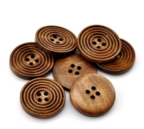 the bead and button company the bead and button box 10 brown wooden buttons 25mm 1