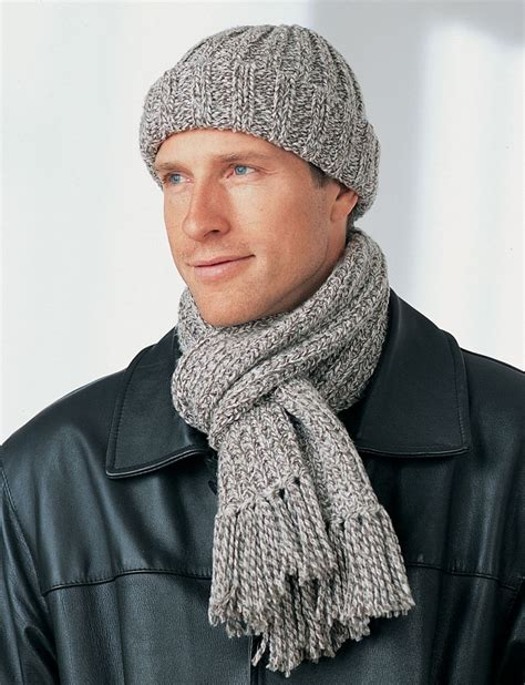 mens knitted scarf patterns s winter hat and scarf favecrafts