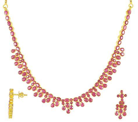 ruby gold necklace gold ruby necklace set 22kt gold stps2740 22kt gold