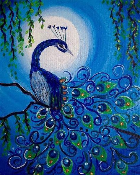 paint nite in ottawa paint nite moonlit peacock