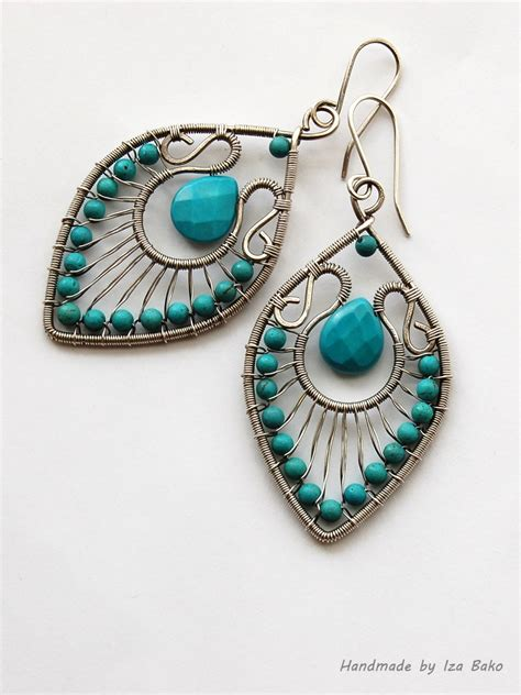 earrings with wire handmade wire wrapped statement earrings with turquoise