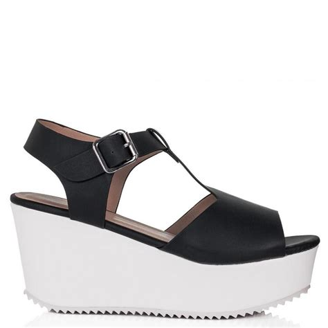 leather platform sandals buy sandcast flatform platform sandal shoes black white leather style