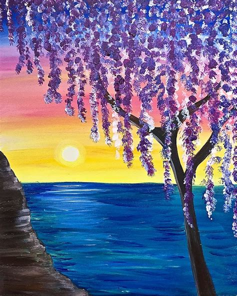 paint nite tree paint nite willow tree sunset