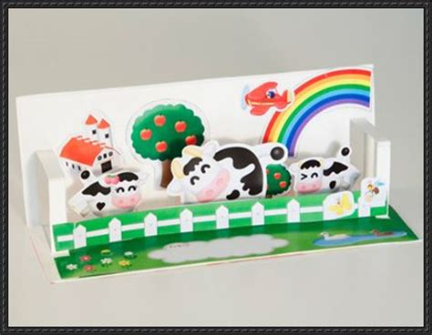 pop up paper crafts happy cows pop up card free paper craft