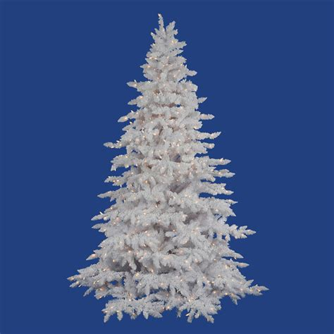 flocked white tree 14 foot flocked white spruce tree clear lights a893696