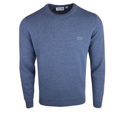 lacoste knitted jumper buy lacoste ah2995 crew neck jumper 6af blue marl from