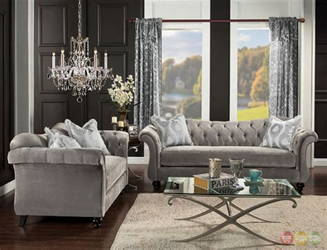 grey velvet tufted sofa antoinette gray velvet chesterfield inspired