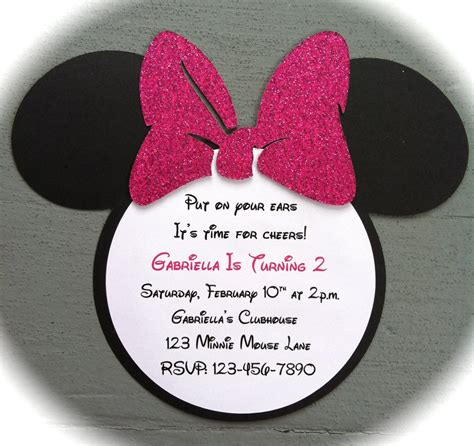 how to make minnie mouse invitation cards handmade invitations pink glitter bow inspired minnie