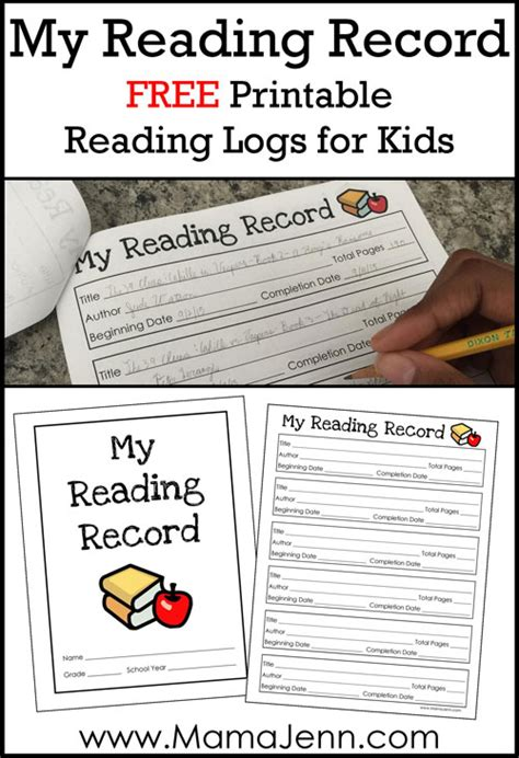 my reaing free printable reading log for