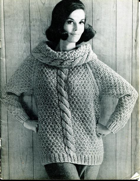sweater design for knitting items similar to 1967 vintage s cowl chunky cable