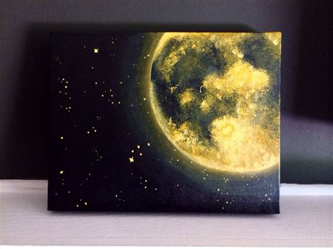 acrylic painting moon orange moon and acrylic painting 11x14 inches home