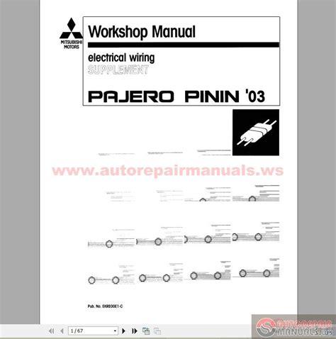 car service manuals pdf 1995 mitsubishi montero electronic toll collection mitsubishi pajero pinin workshop manual workshop manuals autos post