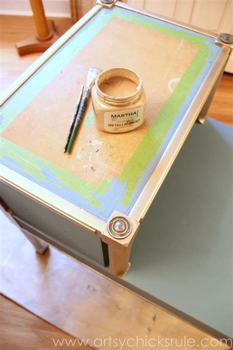 chalk paint gold turquoise chalk paint gold metallic table makeover