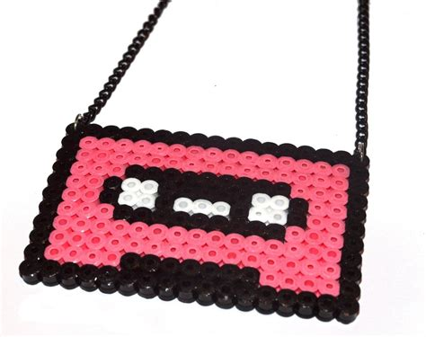 perler bead jewelry patterns cassette perler bead necklace by dramaticdesigns on