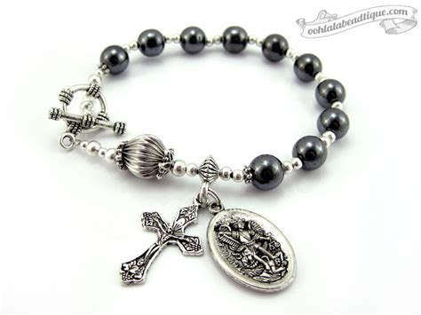 catholic rosary st michael medal catholic rosary bracelet one decade rosary