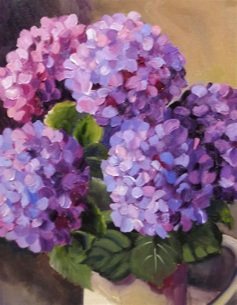 acrylic painting hydrangeas nel s everyday painting 6 27 10 7 4 10 flower