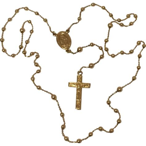 14k rosary 14k yellow gold rosary with white satin 10 9 grams