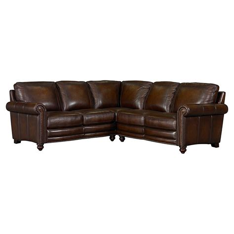 sectional sofa leather hamilton leather sectional sofa by bassett furniture