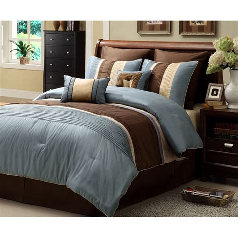 brown comforter set king 8pc chic blue brown striped design comforter set king ebay