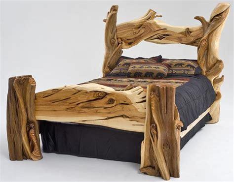wood log bed frame rustic furniture building