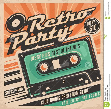 retro party poster design template stock photos image