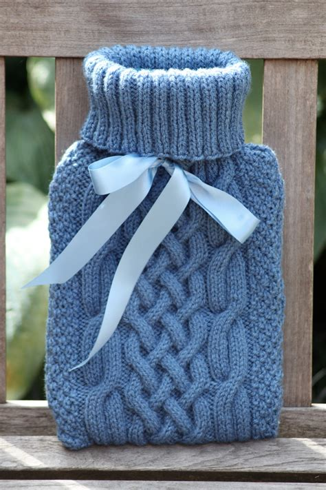 knitting pattern for water bottle nancy cable knit water bottle cover blue
