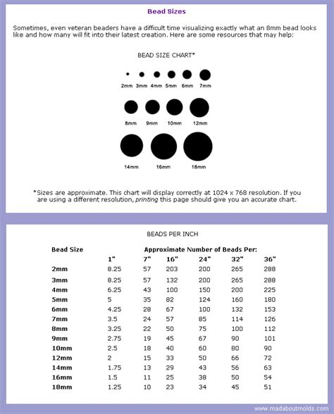 bead size guide seed bead sizing guide bead size chart per inch