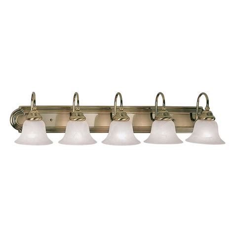 antique brass bathroom light fixtures shop livex lighting 5 light belmont antique brass bathroom
