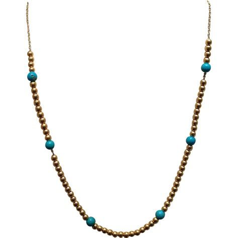 turquoise bead necklace turquoise 14k gold bead necklace from
