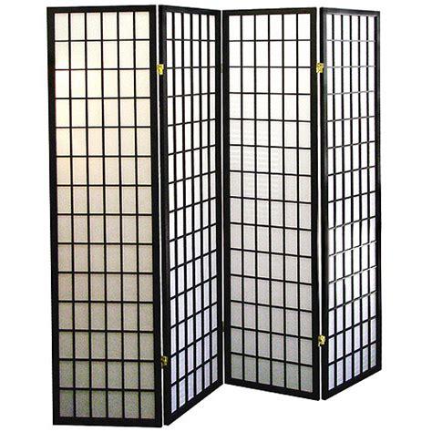 4 panel shoji screen room divider black walmart com