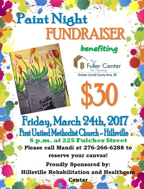 paint nite fundraiser paint fundraiser hillsville united methodist