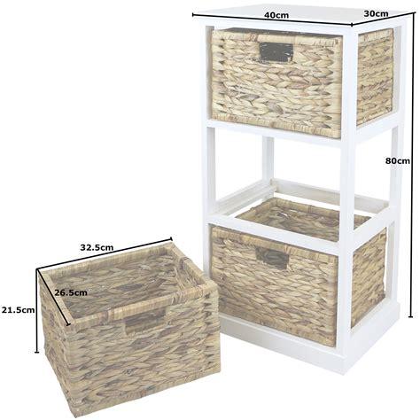 wicker storage drawers bathroom hartleys white 3 basket chest home storage unit wicker
