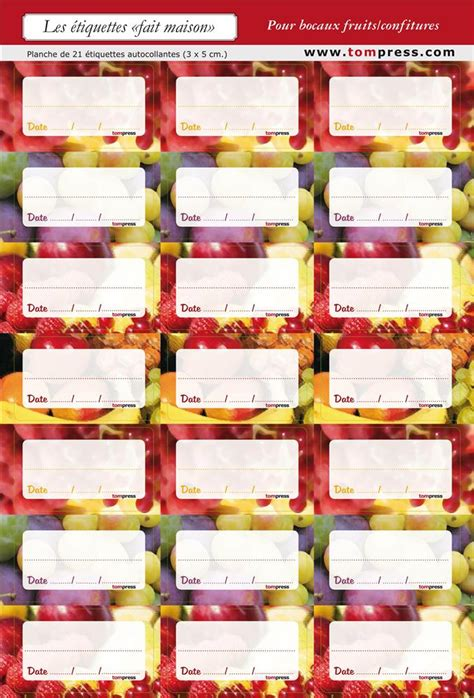 etiquettes pour conserves de fruits et confitures par 84 tom press