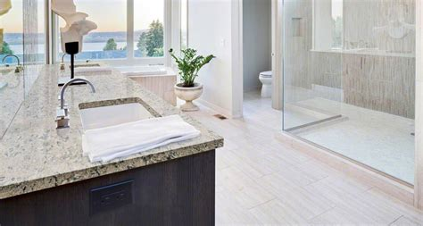 Kitchen Sinks With Backsplash bathroom room scene pacific salt quartz countertop