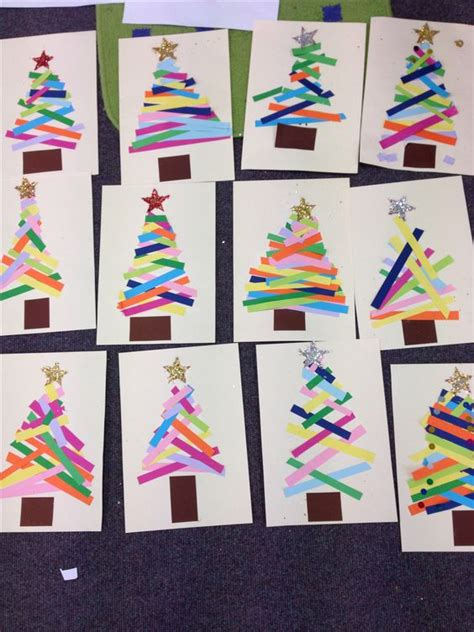 crafts using paper strips kindergarten do this as a center tree paper