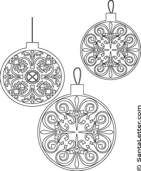 colour in decorations ornaments coloring pages at santaletter