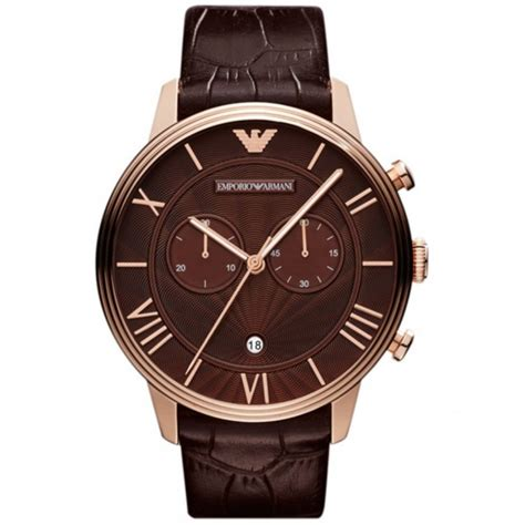 brown leather watches for emporio armani watches ar1616 mens brown leather