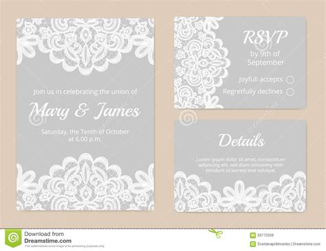 lace templates card lace cards for wedding stock vector image 59772509