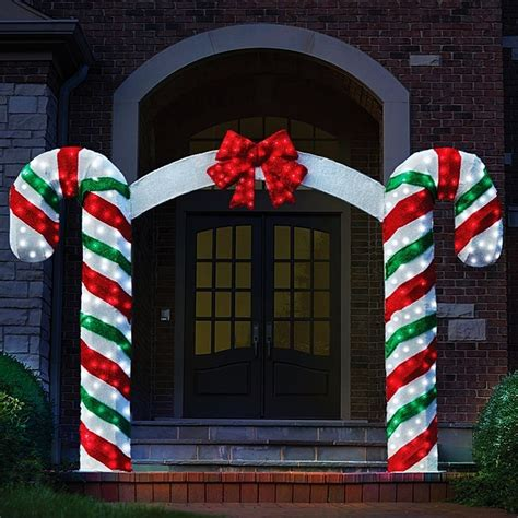 large canes decor peppermint pre lit archway bow